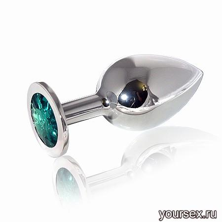 Анальная Пробка Butt Plug Silver Large Emerald