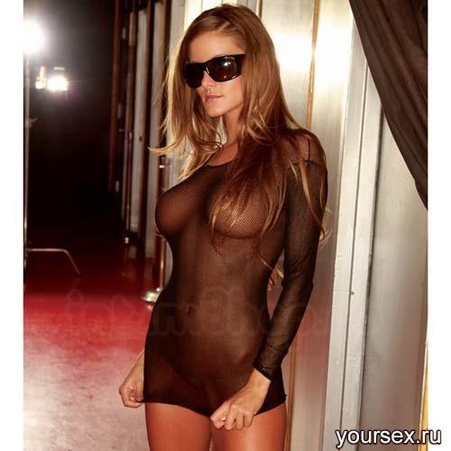 Ультракороткое платье в черную сетку HU64182-BK
