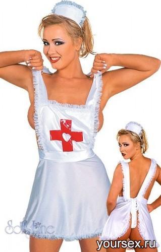 Комплект Медсестры Nurse Фартук и Чепчик, ц.Белый, р.XL