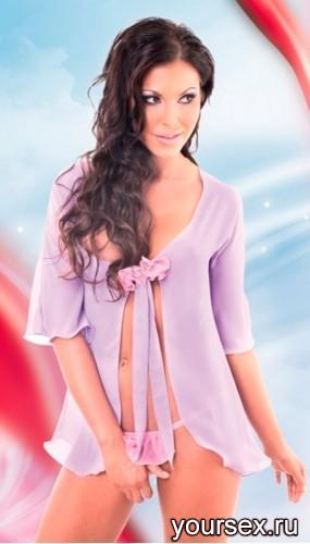 Сорочка и Стринги SoftLine Velia, размер M/L, цвет сиреневый
