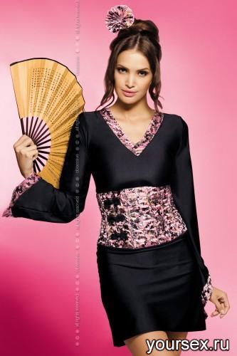 Комплект Obsessive Geisha, размер L/XL, размер черно-розовый
