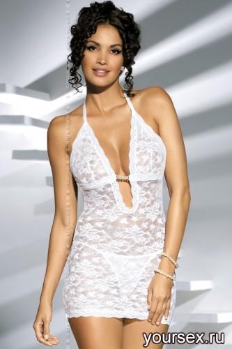 Сорочка и Стринги Obsessive Brilliant Jennefer, размер L/XL, цвет белый