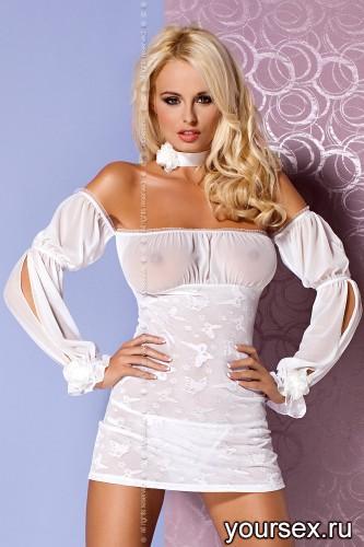 Сорочка и Стринги Obsessive Mistia Chemise, размер S/M, цвет белый