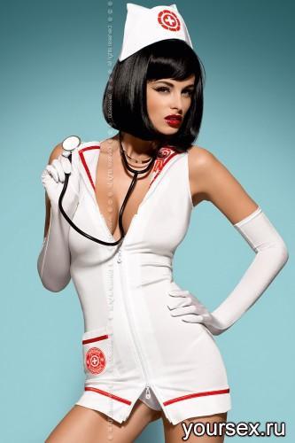 Комплект Медсестра + стетоскоп Obsessive Emergency Dress, размер S/M, цвет белый
