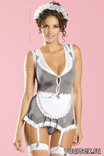 Костюм горничная Obsessive Housekeeper, размер S/M, цвет серый