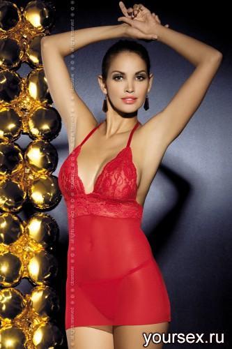 Сорочка и Cтринги Obsessive Magnolie Chemise, размер S/M, цвет красный