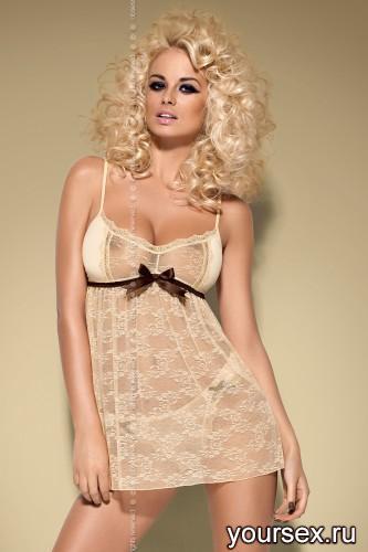 Сорочка и Стринги Obsessive Caramella Babydoll, размер L/XL, цвет карамель