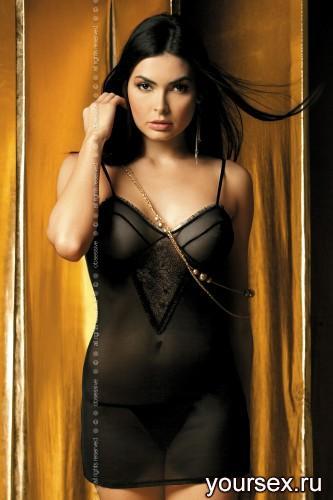 Сорочка и Стринги Obsessive Carat Сhemise, размер S/M, цвет черный