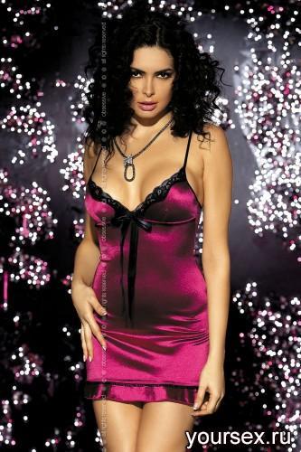 Сорочка и Стринги Obsessive Flamenco, размер L/XL, цвет бордо