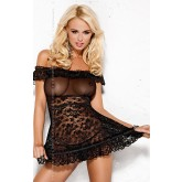 Сорочка и Стринги Obsessive Flores, размер S/M, цвет черный