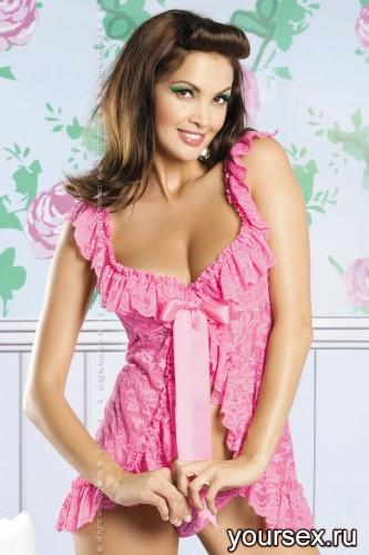 Сорочка и Стринги Obsessive Julia Babydoll, размер S/M, цвет розовый