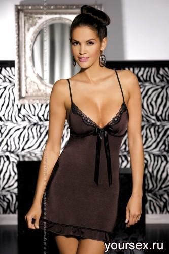 Сорочка Obsessive Tango, размер S/M, цвет шоколад