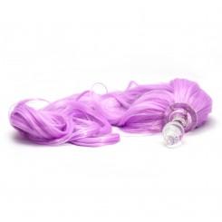 Анальная Пробка Стеклянная Crystal Delight Short Stem - Small с Хвостом, Pony Lavender