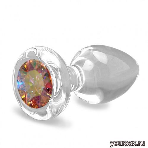 Анальная Пробка Стеклянная Crystal Delight Short Stem с кристаллом Swarovski - Aurora Borealis