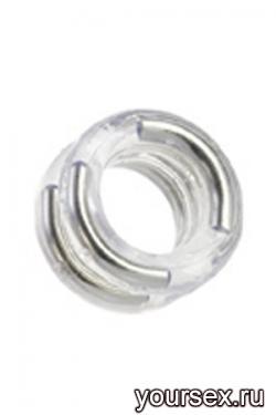 Двойное Эрекционное Кольцо Double Stack Ring с Металлическими Вставками прозрачное