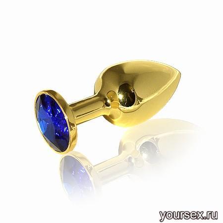 Анальная Пробка Butt Plug Gold Small с синей вставкой, в коробочке