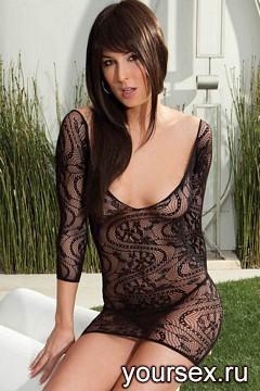 Платье-Сетка Кружевное с Длинным Рукавом