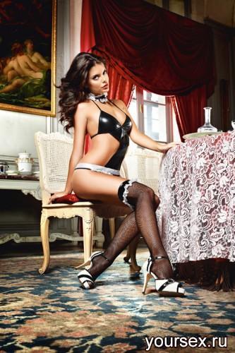 Чулки Private French Maid высокие в мелкую сетку черные (42-46)