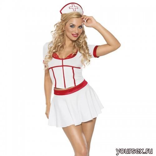 Костюм Медсестры Roxana из 3-х предметов бело-красный, XL