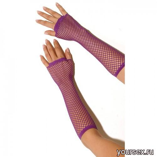 Перчатки Electric Lingerie в сеточку длинные фиолетовые, OS