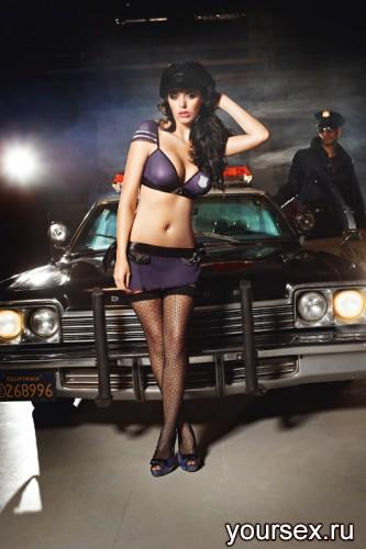 Чулки Baci Lingerie Night Patrol Police с узором высокие черные, 42-46
