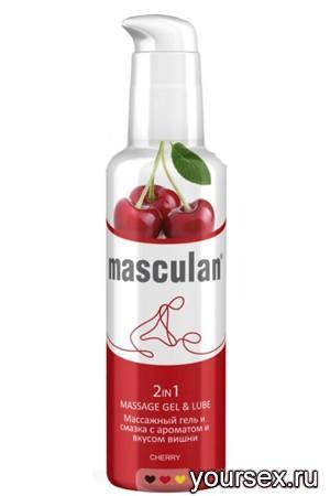 Массажный Гель-Смазка Masculan с ароматом вишни 2 в1, 130 мл