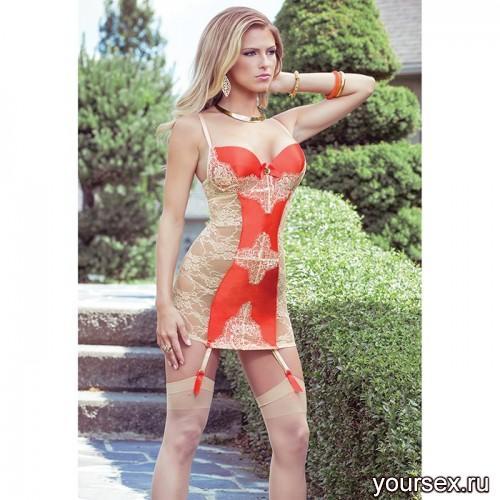 Платье Coquette с Кружевной Спиной и Контрастной Вставкой Sexy Terracottas, S