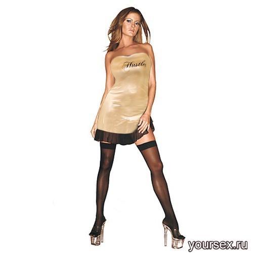 Платье с Надписью Hustler золотистое, S/M