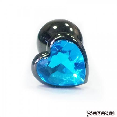 Анальная Пробка в виде сердца, стальная черная с голубой вставкой S, в коробочке