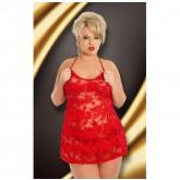 Кружевная Комбинация Soft Line Amanda с Открытой Спинкой и Стринги, красная  XL