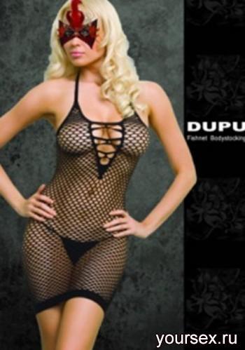 Платье Cетка DUPU со шнуровкой, черное OS