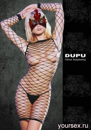 Платье DUPU в крупную сетку с рукавами, черное OS