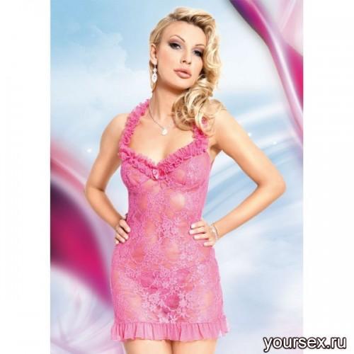 Сорочка и Стринги Soft Line Mia, розовые S/M