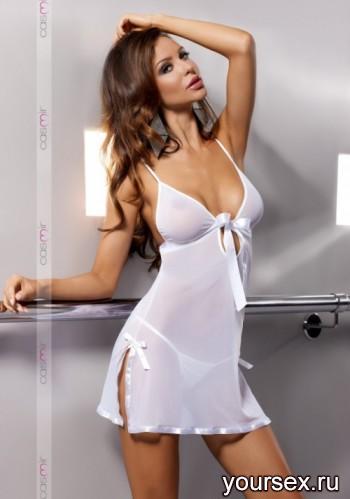 Сорочка прозрачная Casmir Kea white, XXL/XXXL
