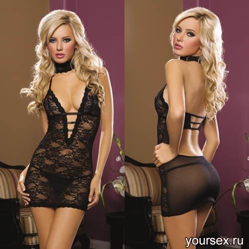 Ажурное Платье с Глубоким Декольте - OS, черный