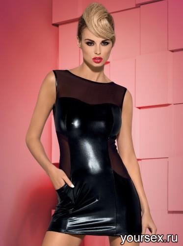 Платье и Стринги Obsessive Wetty Dress, размер S/M, цвет черный