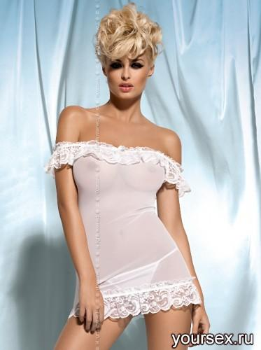 Сорочка и Стринги Obsessive Amoresa Chemise, размер L/XL, цвет белый