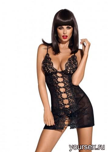 Сорочка и Стринги Obsessive Bride Chemise, размер S/M, цвет черный