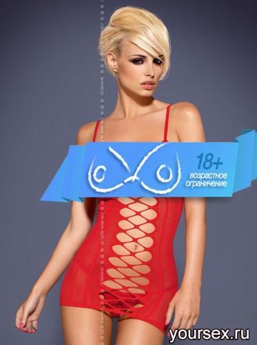 Сорочка и Стринги Obsessive Dress D300, размер S/M, цвет красный