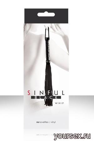 Плетка SINFUL WHIP многохостная черная