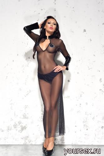 Черная сорочка и стринги Sarah L/XL