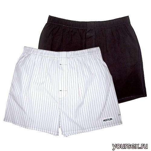 Мужские хлопковые трусы-шорты HUSTLER белые и черные, размер S