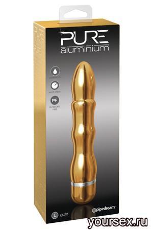 Вибромассажер PURE ALUMINIUM - GOLD LARGE рельефный золотистый
