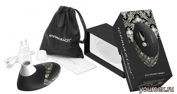 Стимулятор клитора Womanizer 2 вакуумный с двумя заменяемыми насадками, черный Pro tattoo