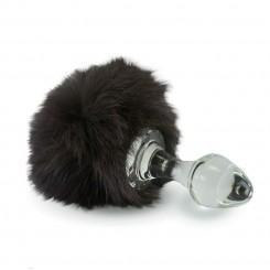Анальная Пробка Стеклянная Crystal Delight Short Stem - с Хвостом из Меха Кролика на магните, Brown