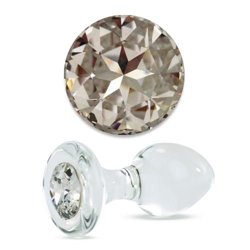 Анальная Пробка Стеклянная Crystal Delight Short Stem с кристаллом Swarovski - Clear