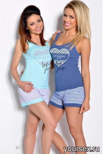 Голубая футболка и шорты Bogda XL