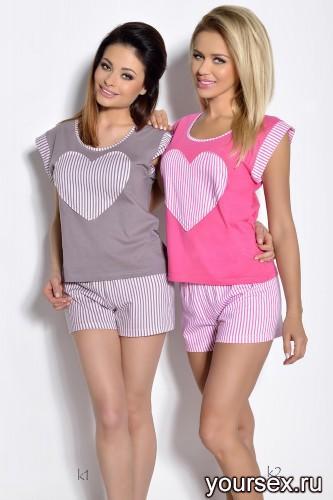 Коричневая футболка и шорты Roksana XL