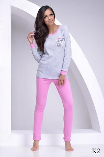 Серая футболка с длинным рукавом и розовые штаны Judita L