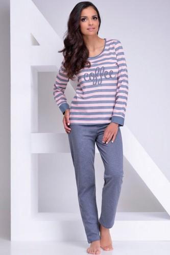 Серо-розовая футболка с длинным рукавом и серые штаны Blanka XL